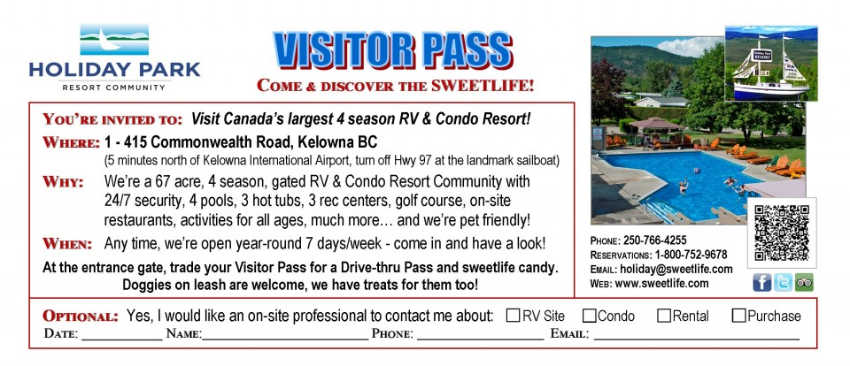 Holiday Park Free Visitor Pass